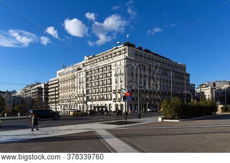 Athens, Greece - January 19, 2017:  Panoramic View Of Syntagma Square In Athens, Attica, Greece