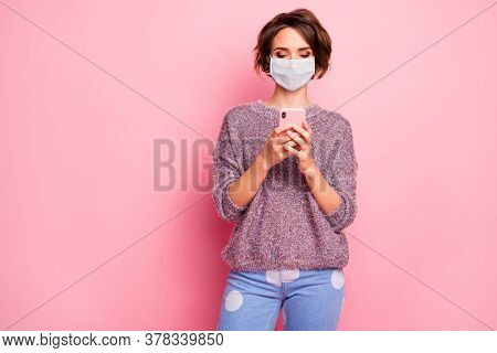 Portrait Of Her She Nice Pretty Focused Healthy Girl Wearing Safety Mask Using Gadget Browse Flu Gri