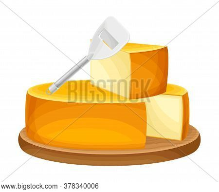 Block Of Cheese With Cut Slab As Dairy Product Vector Illustration