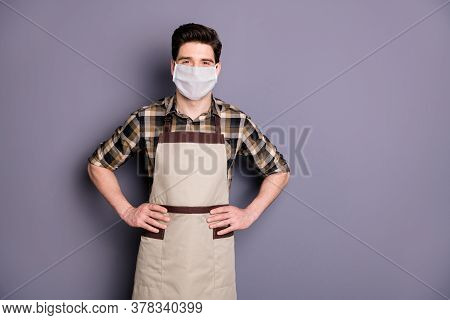 Portrait Of His He Attractive Content Healthy Guy Workman Wearing Safety Mask Stop Infection Flu Flu