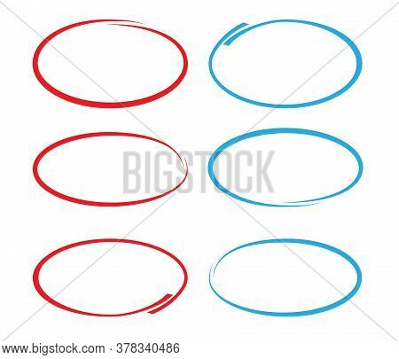 Red And Blue Circular Doodles Or Drawn Circles For Marking Isolated On White Vector Illustration