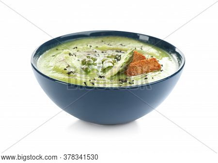 Delicious Asparagus Soup With Rusks And Sesame Seeds Isolated On White