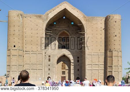 Turkestan, Kazakhstan - 04 August 2019. Medieval Mausoleum Of Khoja Ahmed Yasawi In The City Of Turk