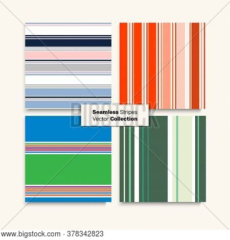 Sailor Stripes Seamless Pattern Set. Female Childrens Male Seamless Stripes Design. Trendy Fashion B