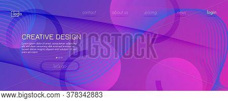 Pink Fluid Stripes. Technology Motion. 3d Futuristic Background. Modern Vector Poster. Fluid Stripes