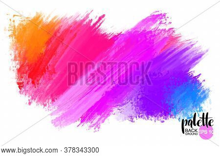 Artistic Backdrop, Vector With Brush Strokes, Brush Paint Look Background With Colorful Hand Painted