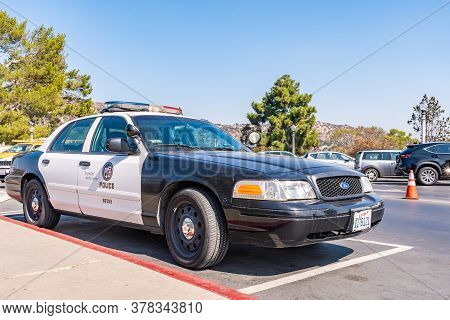 Los Angeles, California - October 09 2019: Los Angeles Cop Car/ Police Vehicle Parked In Parking Lot