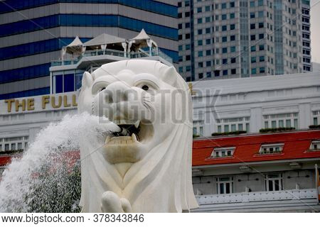 Country-singapore, City- Singapore Date 07/26/2020 Close View Of Merlion At Marina Bay Singapore