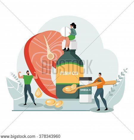 Healthy Lifestyle Concept. Fish Oil Food Supplement. Image Of People And Medical Supplies. Flat Desi
