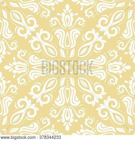 Orient Vector Classic White Pattern. Seamless Abstract Background With Vintage Elements. Orient Back
