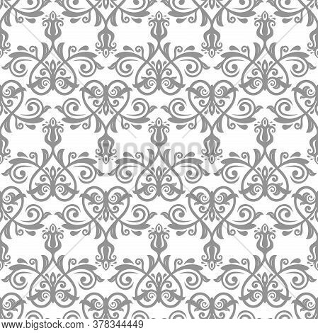 Classic Seamless Vector Pattern. Damask Orient Ornament. Classic Vintage Gary Background. Orient Orn