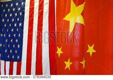 Hanging National Flags Of China And Usa