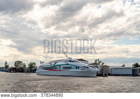 Large Modern Boat On The Water Against The Backdrop Of Beautiful Clouds. Russia, Tatarstan, July 25,