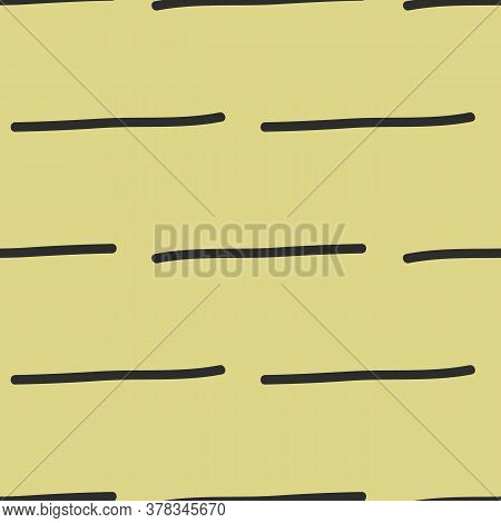 Dashes On Yellow Straight Lines In Black. Seamless Pattern. Vector. Texture Surface Design