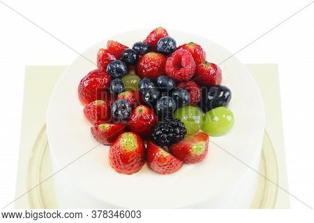 Fruit Birthday Cake Isolated On White Background