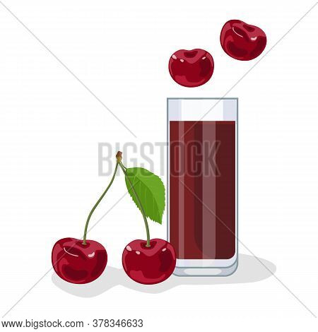 Cherry Juice In A Glass Glass, Next To Cherries. White Background, Isolate. Vector Illustration