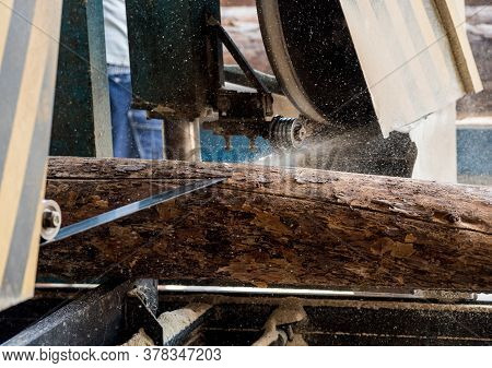 Modern Sawmill. Industry Sawing Boards From Logs