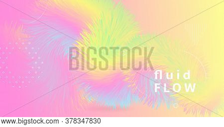 Abstract Color Liquid. 3d Pattern. Pastel Dynamic Movement. Vector Futuristic Cover. Modern Motion.