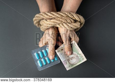 Concept Of Ukrainian Pensioner With A Lack Of Money, Whose Money Is Spent Only On Medicines. Wrinkle