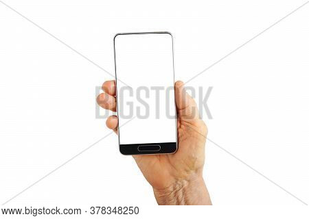 Elderly Woman Hand Holding Cellphone With Empty White Screen. Isolated On White. Copy Space.