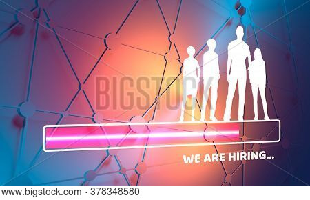 The Choice Of The Best Suited Employee. Human Silhouettes. Hr Job Seeking Concept. We Are Hiring Tex