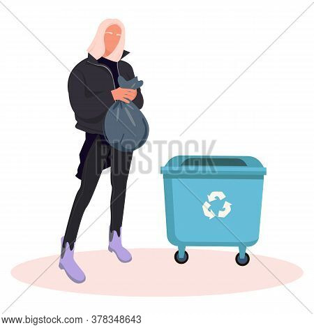 Zero Waste Concept. Girl Throw Garbage Into Containers. Recycling Pollution Ecology Protection. Cart