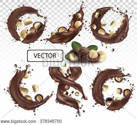 Chocolate Splash With Nuts Macadamia. Dark Chocolate-nuts Paste. Cocoa. Chocolate Dessert. Collectio
