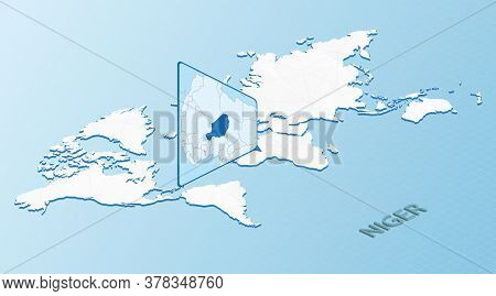 World Map In Isometric Style With Detailed Map Of Niger. Light Blue Niger Map With Abstract World Ma