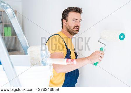 Professional Painter Portrait Whitewashing The Wall