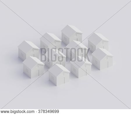 Small Gray Houses, Futuristic Town Block Abstract Representation, Street, Quarter. 3d Illustration