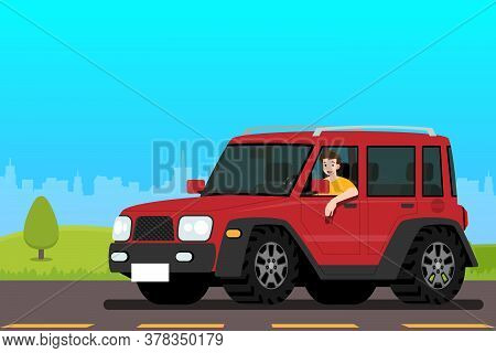 Happy Man Driving A New Jeep Car With Glad Emotion. A Male Drive An Endure Vehicle In The City. Flat
