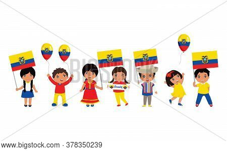 Children Holding Ecuadorian Flags. Modern Design Template For Greeting Card, Ad, Promotion, Poster,