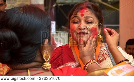 Delhi, India - 19th October 2018; Women Participate In Sindur Khela Or Red Vermillion Playing   At A