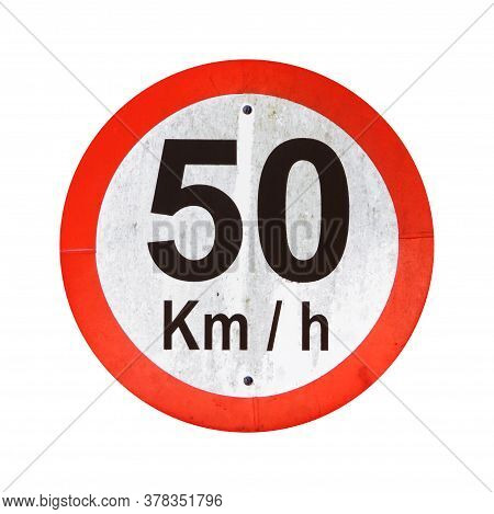 50 Kmh Speed Limit Traffic Sign Isolated On White Background