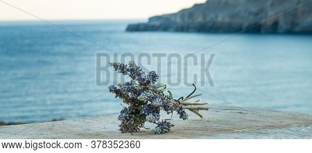 Beautiful Greek Wild Lavender On The Background Of The Sea On Natural Wooden Background. Copy Space
