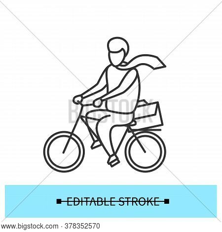 Bike To Work Icon. Man Riding Bicycle, Commuting To Office Linear Pictogram. Return To The Office An