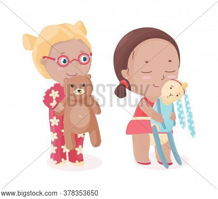Vector Happy Kids With Soft Toys. Smiling Blonde Girl In Eyeglasses With Teddy Bear And Brown Hair G