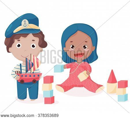 Isolated Happy Afro-american Toddler With Bricks And Caucasian Boy With Toy Ship With Sails. Cute Ki