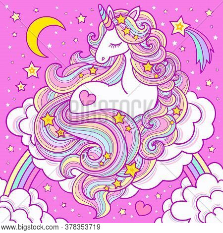 A Cute White Unicorn With A Long Mane Sits On A Cloud And Rainbow. Vector Illustration