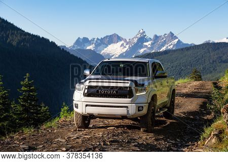 Chilliwack, British Columbia, Canada - July 25, 2020: Toyota Tacoma Riding On The 4x4 Offroad Trails