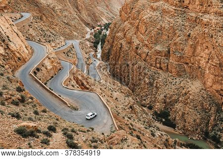 Curve Serpentine Winding Road In Dades Gorge Mountain Canyon. Famous Morocco Tourist Landmark, R704