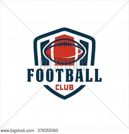 American Football Logo Template,vector Illustration, Red And Blue Vector Football Logo And Insignias