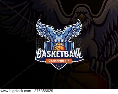 Eagle Mascot Sport Logo Design. Eagle Bird Mascot Vector Illustration Logo. Eagle Pounces On Basketb