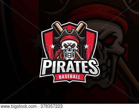 Baseball Sport Logo Design. Modern Professional Baseball Vector Badge. Skull Pirate Baseball Logo De