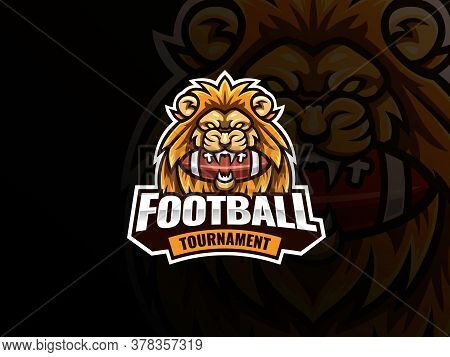 Lion Head Mascot Sport Logo Design. American Football Mascot Vector Illustration Logo. Lion Bit The