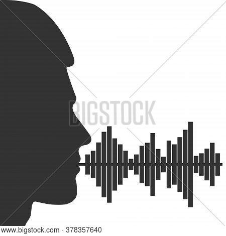 Male Voice Spectrum. Male Head Silhouette And Voice Spectrum. Vector Illustration For Theme Design I