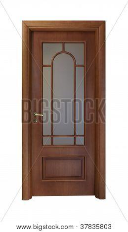 Brown Door With A Window