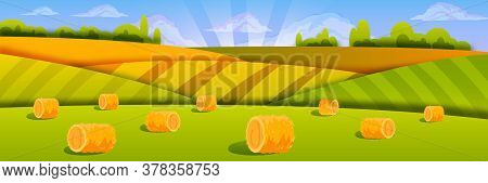 Organic Haystack Landscape With Green Fields, Clouds, Morning Sky, Sunrays. Rural Farm Illustration