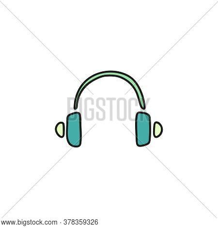 Headphone Doodle Vector Icon. Earphones Sketch On White Background