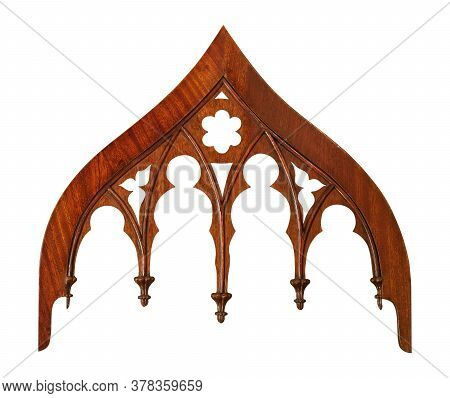 Gothic Decorative Architectural Wooden Element Isolated On White Background. Design Element With Cli